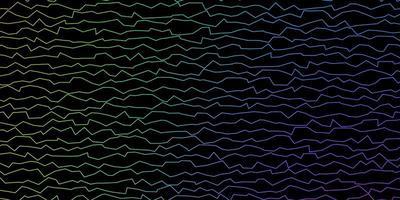 dunkles mehrfarbiges Vektormuster mit gekrümmten Linien.