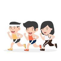 Leute, die einen Marathon laufen vektor