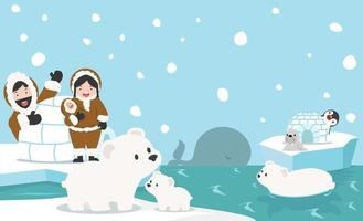 Nordpolen djur vektor bakgrund
