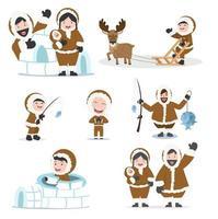 süße Eskimo Menschen Familie Set vektor