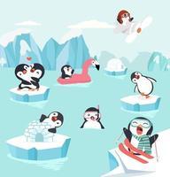 pingviner som gör utomhusaktiviteter vektor