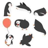 uppsättning pingvinkaraktärer i olika poser vektor