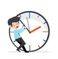 affärsman som försöker stoppa tidsbegreppet vektor