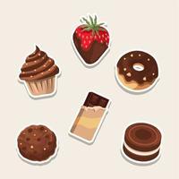 süße sechs Schokoladendessert vektor