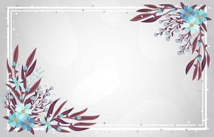 blaue Blumen und Blätter Winterhintergrund vektor