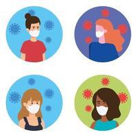 Gruppe Frauen mit Gesichtsmaske mit Partikeln covid 19