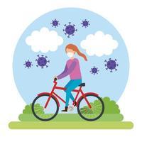 junge Frau mit Gesichtsmaske auf Fahrrad mit Partikeln covid 19