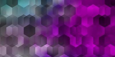 ljusrosa, blå vektorbakgrund med hexagoner. vektor