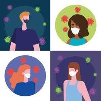 Szenen von Menschen mit Gesichtsmaske mit Partikeln abdecken 19