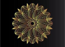 lyxig guld linje konst mandala bakgrund vektor