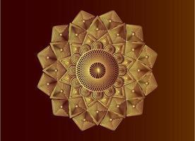 geometrisk islamisk mandala gyllene arabesk mosaik vektor