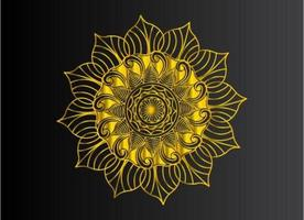 Guldfärgad tonad mandala av naturlig blommig formdesign vektor