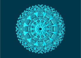 blå dekorativ, blommig och abstrakt arabesk mandala design vektor