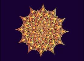 orange dekorativ, blommig och abstrakt arabesk mandala design vektor