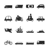 Transport einfach Icon Set vektor