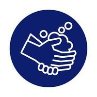Händewaschen mit Schaumstoffblock-Stilikone