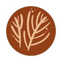 Zweig mit Blättern Boho Hand gezeichneten Stil