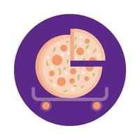 Pizza im Skateboardblock-Stil