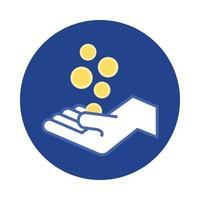 Hand mit Münzen Geld Dollar Block und flachen Stil