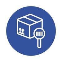 låda med förstoringsglas och streckkodsblockstil