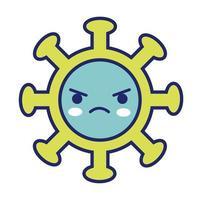 covid19 virus partikel kawaii linje stil
