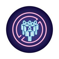 Vermeiden Sie die Massen Covid19 Virus Neon-Stil