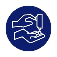 Hände waschen mit Seifenspender Block Stilikone