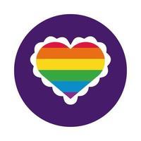 hjärta med gay pride flagga block stil vektor