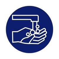 Händewaschen mit Wasserhahnblock-Stilikone