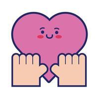 hjärta cardio kawaii linje stil