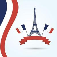 Eiffelturm mit Frankreich-Flaggen und Bandvektorentwurf vektor