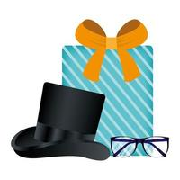 Brille, Hut und Geschenk für Vatertagsvektordesign