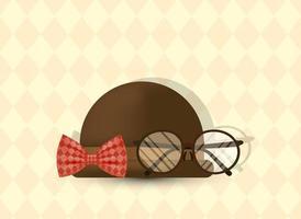 glasögon, fluga och hatt för fars dag vektor design