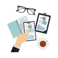 Hände halten Smartphone mit Infografik Vektor-Design
