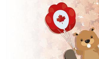 Kanadischer Biber mit Ballon für glücklichen Kanada-Tagesvektorentwurf