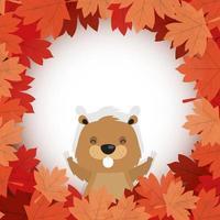 Kanadischer Biber innerhalb des Herbstlaubs für glücklichen Kanada-Tagesvektorentwurf