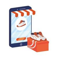 online-e-handel med smartphone som köper tennisskor