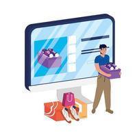 Online-E-Commerce auf dem Desktop mit Mann, der Schuhe kauft