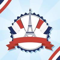 eiffeltornet med franska flaggor och bandvektordesign