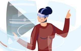 Frau, die Virtual-Reality-Technologie in der interaktiven Anzeige verwendet