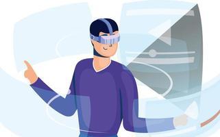 junger Mann, der Technologie der virtuellen Realität in der interaktiven Anzeige verwendet