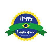 Glückliche Unabhängigkeitstag Brasilien Karte mit Flagge und Bandrahmen flachen Stil