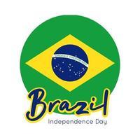 glücklicher Unabhängigkeitstag Brasilien Karte mit Flaggensiegel flachen Stil