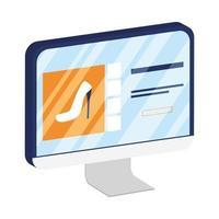 online-e-handel på stationära datorer som köper höga klackar
