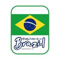 glücklicher Unabhängigkeitstag Brasilien Karte mit Flagge flachen Stil