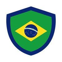 Brasilien flagga i sköld platt stilikon vektor