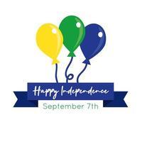 glücklicher Unabhängigkeitstag Brasilien Karte mit Luftballons