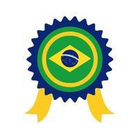 Brasilien flagga tätning stämpel platt stilikon vektor