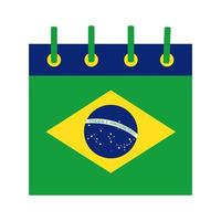 Brasilien flagga kalender platt stilikon vektor