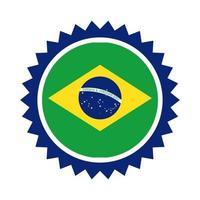Brasilien Flagge Siegelstempel flache Stilikone vektor